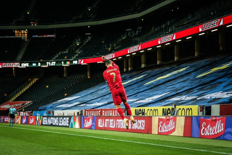 Tak Cristiano Ronaldo cieszył się ze swojego setnego gola zdobytego dla Portugalii /MARIO CRUZ /PAP/EPA