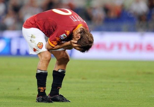 Tak Francesco Totti (Roma) zareagował po nie wykorzystaniu bramkowej sytuacji /AFP