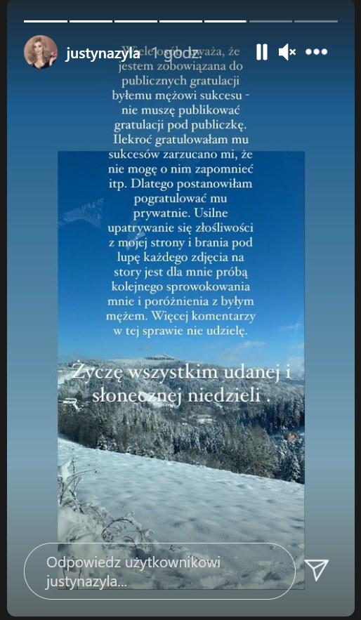 Tak Justyna Żyła tłumaczyła się z braku oficjalnych gratulacji dla Piotra Żyły /Instagram/justynazyla /Instagram