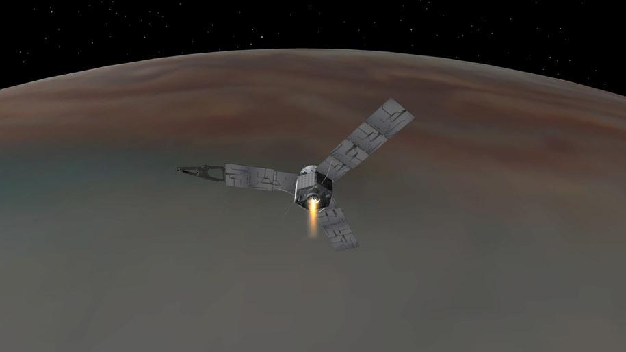Tak miał wyglądać manewr hamowania nad Jowiszem /NASA/JPL-Caltech /materiały prasowe