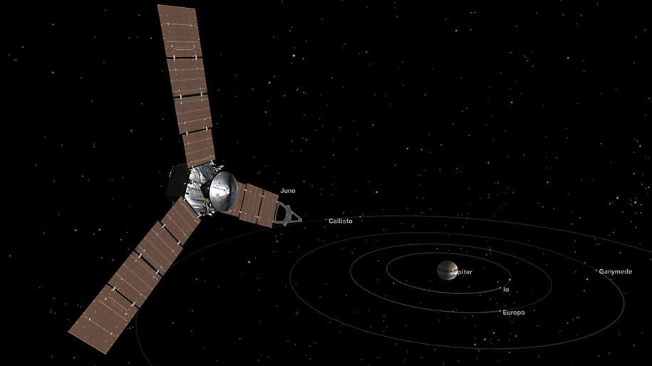 Tak możemy sobie wyobrażać sondę Juno zbliżającą się do Jowisza /NASA/JPL-Caltech /materiały prasowe