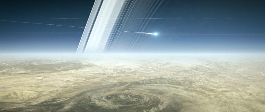 Tak można sobie wyobrażać ostatnie chwile Cassiniego /NASA/JPL-Caltech /Materiały prasowe