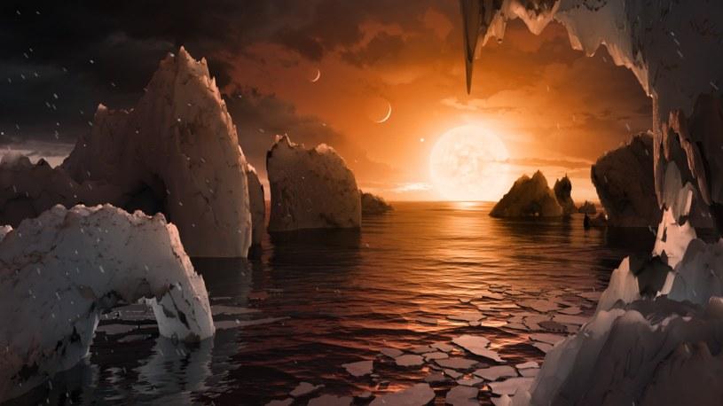 Tak można sobie wyobrazać powierzchnię planety TRAPPIST-1f, odkrytej niedawno z pomocą należącego do NASA teleskopu Spitzera /NASA