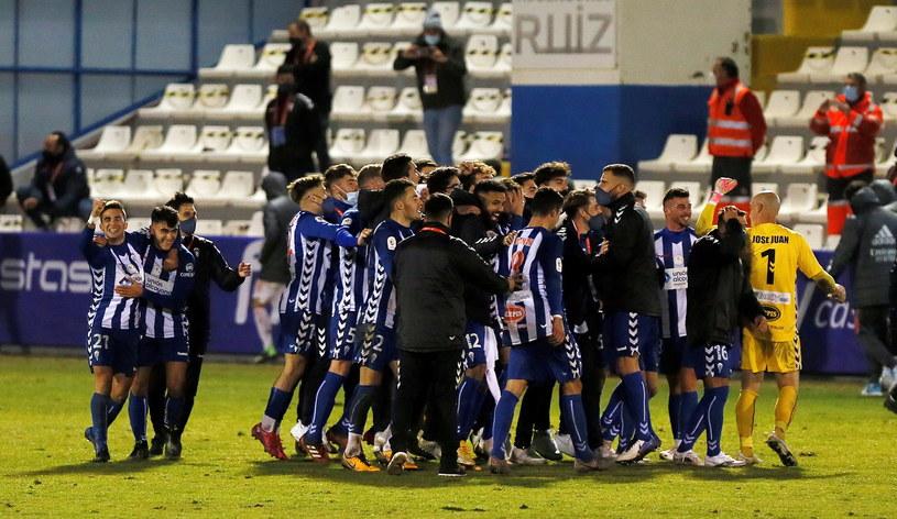 Tak piłkarze Alcoyano świętowali triumf z Realem Madryt /MANUEL LORENZO /PAP/EPA