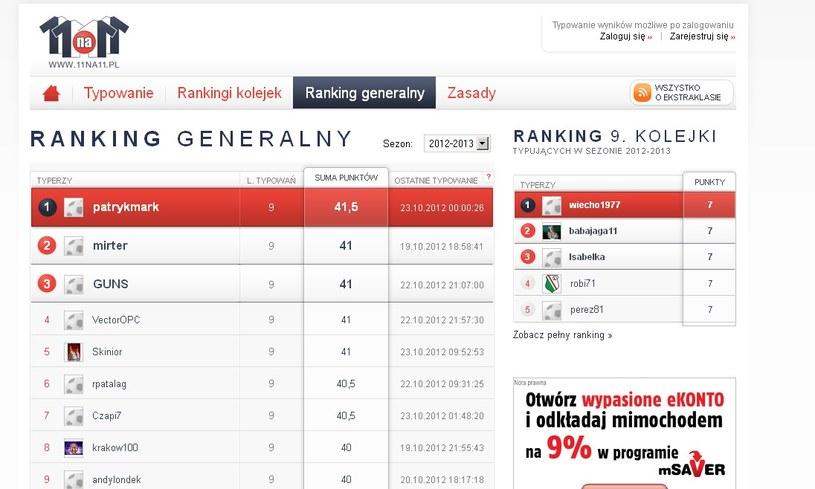 Tak prezentuje się ranking generalny po 9. kolejkach. /INTERIA.PL