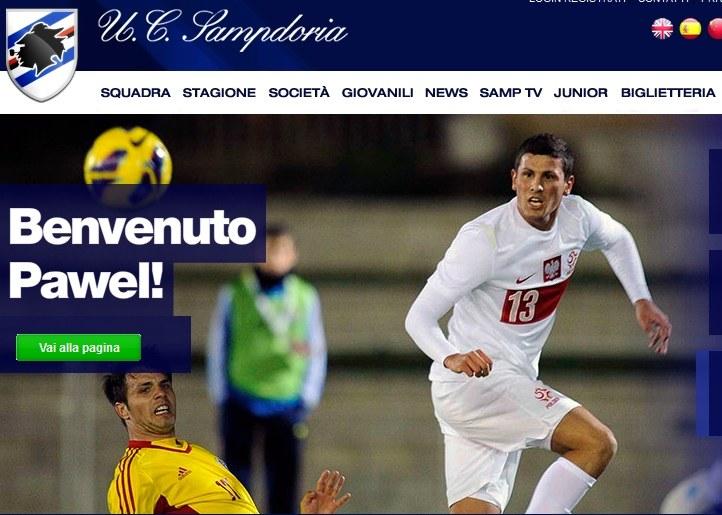 Tak Sampdoria Genua wita Pawła Wszołka /Internet