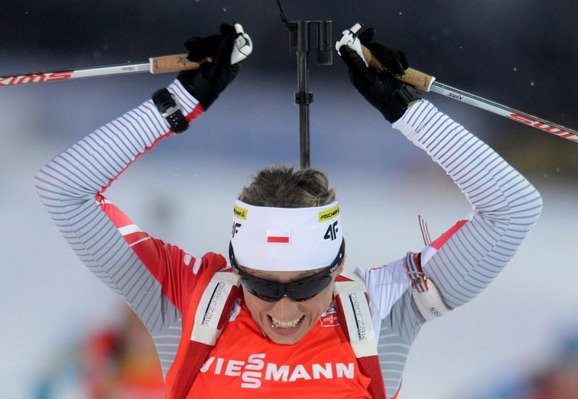 Tak się tworzy historię - Krystyna Pałka zdobywa srebrny medal MŚ w Novym Mestie. To pierwszy taki sukces polskiego kobiecego biathlonu. /AFP