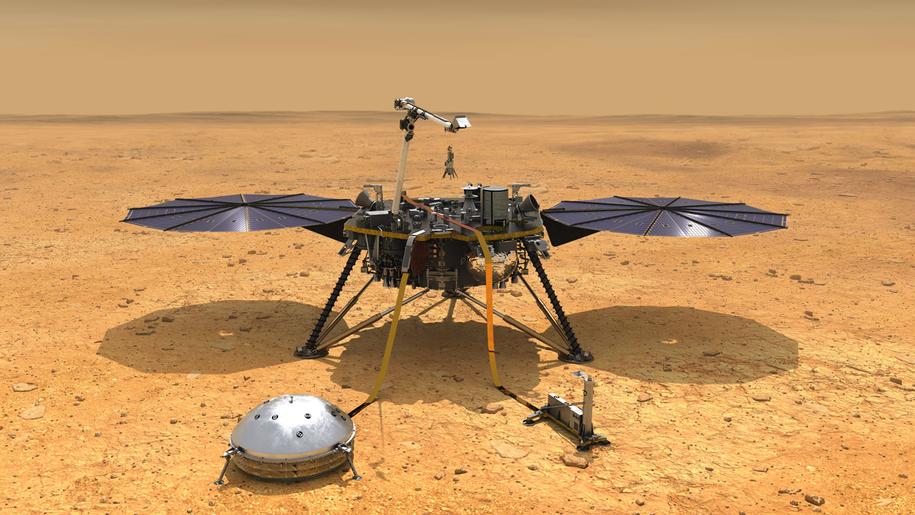 Tak sonda inSight ma wyglądać na powierzchni Marsa /NASA/JPL-Caltech /Materiały prasowe