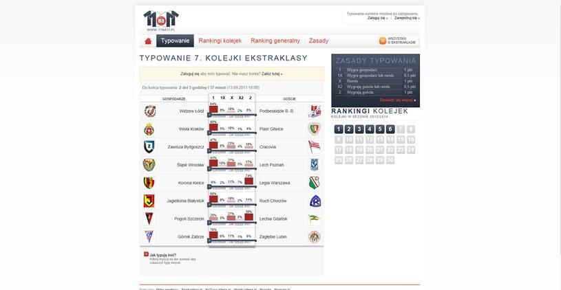 Tak typują wyniki 7. kolejki użytkownicy serwisu 11na11.pl /INTERIA.PL