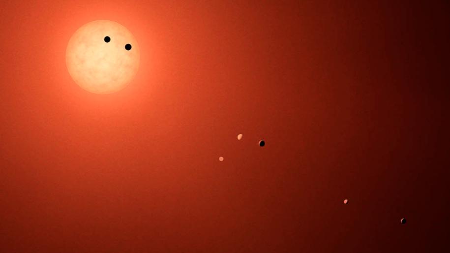 Tak układ TRAPPIST-1 wyglądałby z Ziemi, gdybyśmy dysponowali odpowiednio potężnym teleskopem /NASA-JPL/Caltech /materiały prasowe