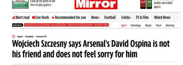 """Tak widzi całą sprawę """"Daily Mirror"""" /INTERIA.PL"""
