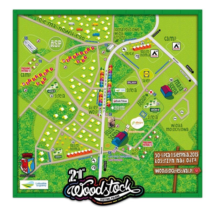 Tak wygląda mapka Przystanku Woodstock 2015 /Oficjalna strona festiwalu