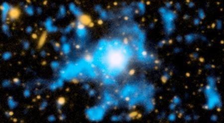 Tak wygląda materia przyćmiona - tu kwazar QSO 1549+19 z otaczającym go gazem /materiały prasowe