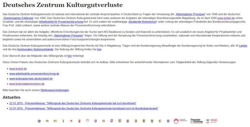 Tak wygląda oficjalna strona Niemieckiego Centrum Strat Dóbr Kultury /deutsches-zentrum-kulturgutverluste.org /