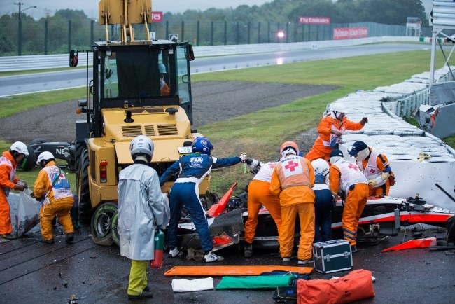 Tak wyglądał bolid Julesa Bianchiego po wypadku /HIROSHI YAMAMURA /PAP/EPA