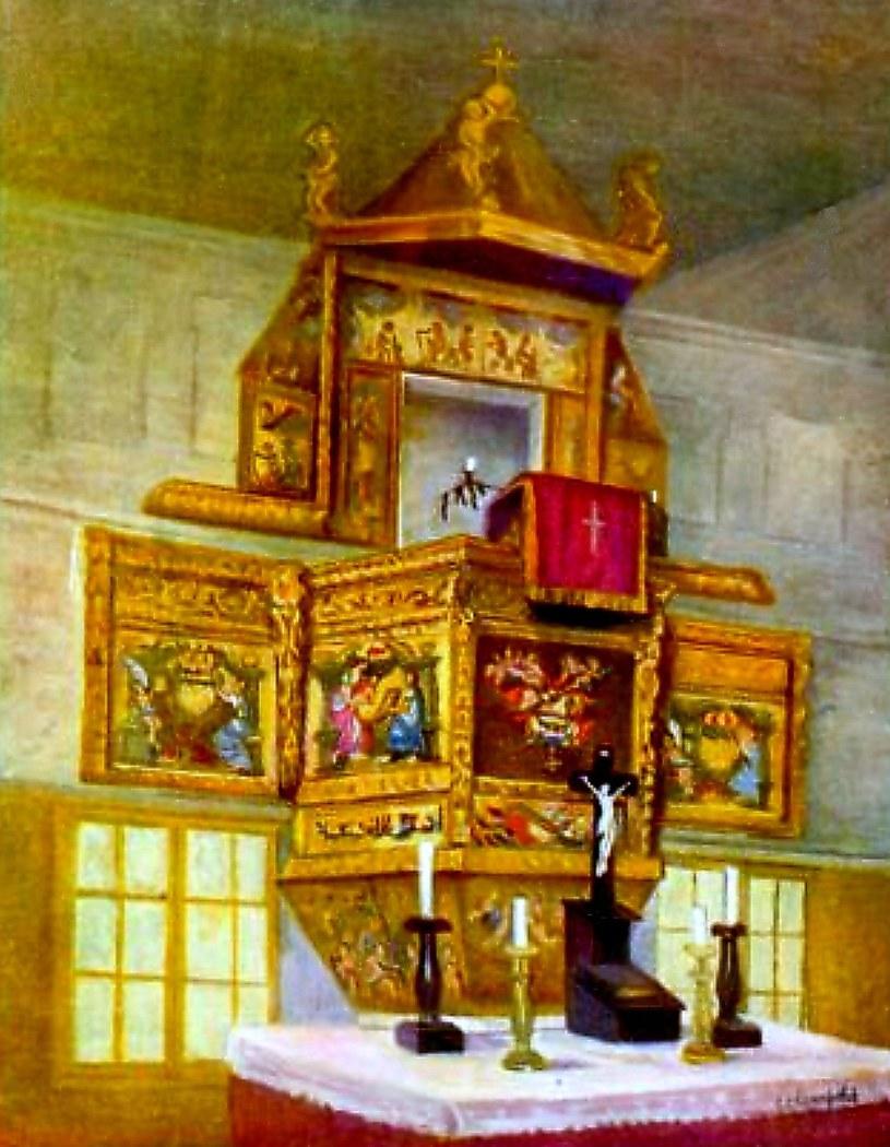 """Tak wyglądała zabytkowa ambona, do 1946 roku zdobiąca kościółek w Radaczu. Reprodukcja z czasopisma """"Unser Pommerland"""". /Leszek Adamczewski /Odkrywca"""