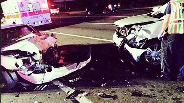 """Tak wyglądało auto matki """"The Rocka"""" po wypadku - fot. Instagram /"""