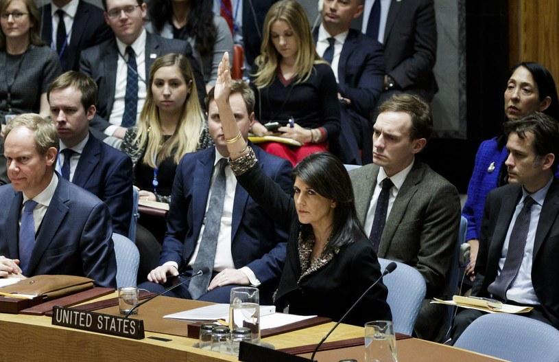 Tak wyglądało weto USA. Na zdjęciu Nikki Haley, ambasador USA przy ONZ /PAP/EPA