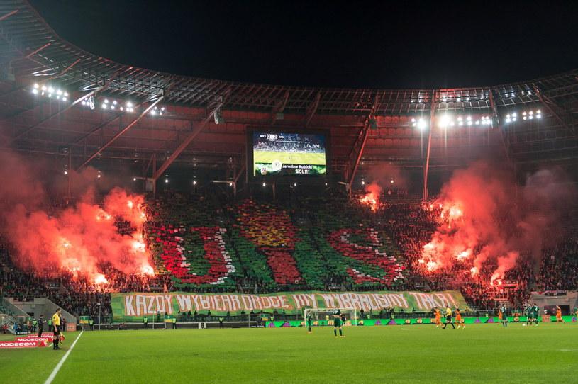 Tak wyglądały trybuny podczas meczu Śląsk Wrocław - Zagłębie Lubin /Maciej Kulczyński /PAP