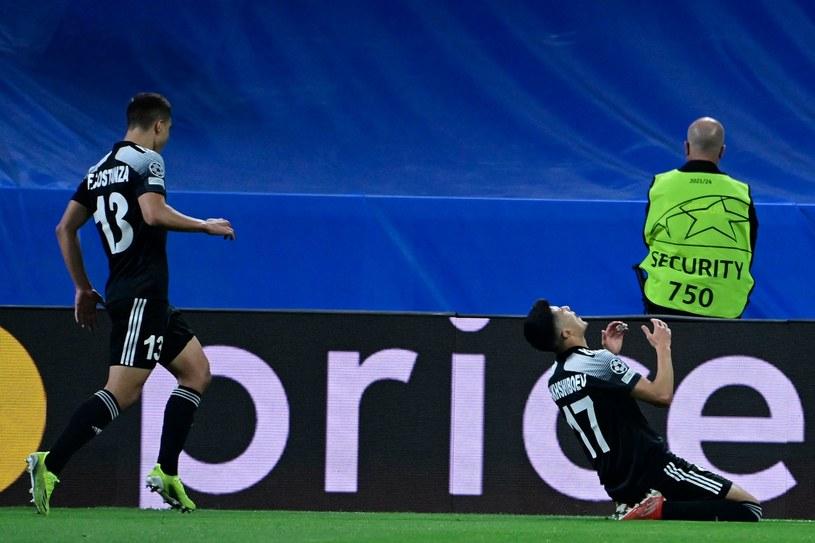 Tak z bramki strzelonej na Estadio Santiago Bernabeu cieszył się Jasur Jakszibojew /JAVIER SORIANO /AFP