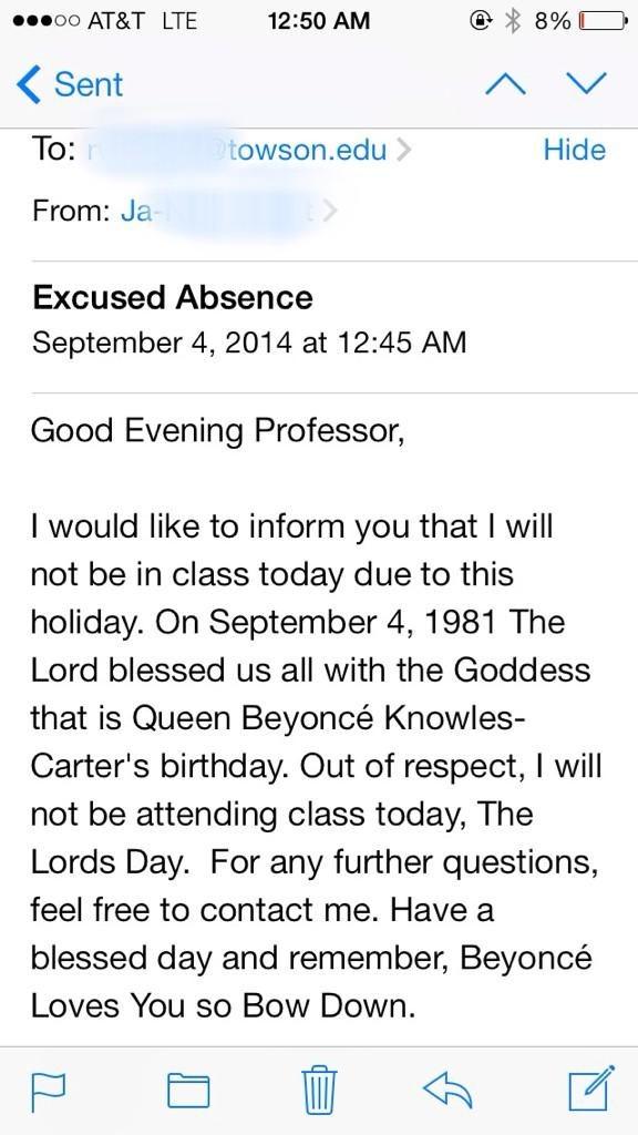 Takej treści maila wysłała studenka, fanka Beyonce /