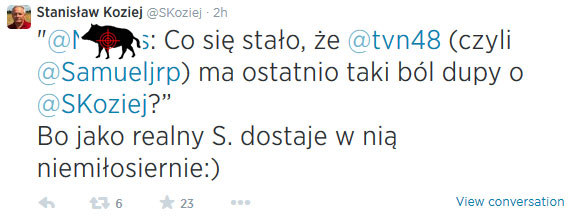 Taki wpis Stanisław Koziej udostępnił dzisiaj... (dzik jest nasz) /@SKoziej/Twitter /