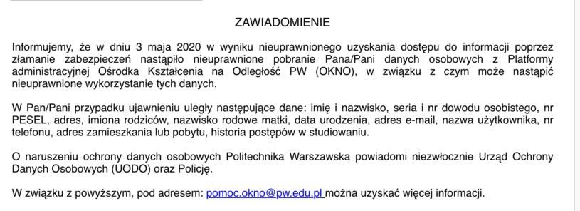 Takie informacje otrzymują studenci /INTERIA.PL