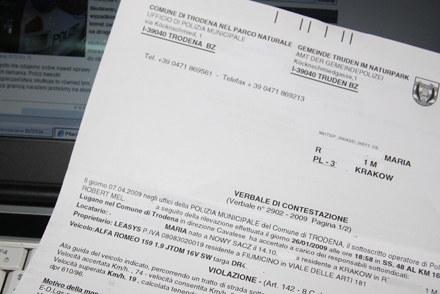 Takie pismo dostałam od włoskiej policji /