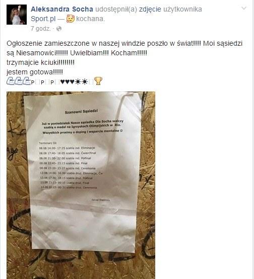 Takie zdjecie Aleksandra Socha opublikowała na swoim profilu /Facebook /INTERIA.PL