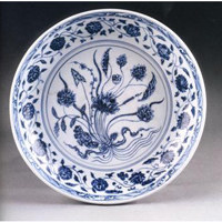 Talerz, Chiny, Jingdezhen, dynastia Ming, pocz. XV w., porcelana, Muzeum Pałacu Topkapy /Magazyn Sztuka.pl