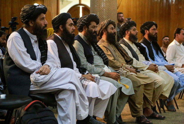 Talibowie podczas zgromadzenia w stolicy Afganistanu, Kabulu /STRINGER /PAP/EPA