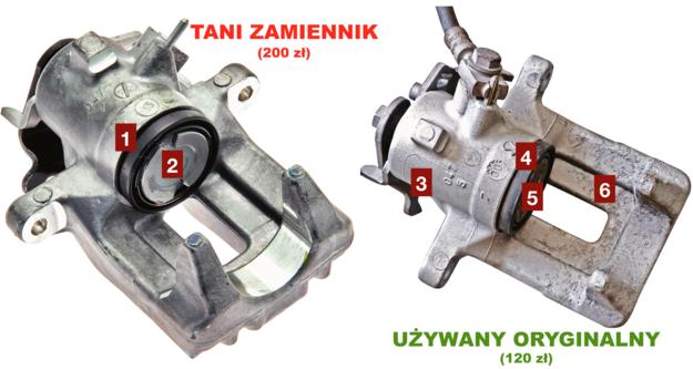 TANI ZAMIENNIK  [1] osłony wykonane z taniej i mniej elastycznej gumy [2] tłoczek bardziej podatny na zacieranie się w korpusie UŻYWANY ORYGINALNY [3] trwały i odporniejszy na korozję mechanizm ręcznego [4] wysokiej jakości osłony gumowe [5] tłoczek pokryty grubą warstwą chromu technicznego [6] odporny na odkształcenie korpus zacisku