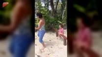 Taniec na plaży przybrał nieoczekiwany obrót