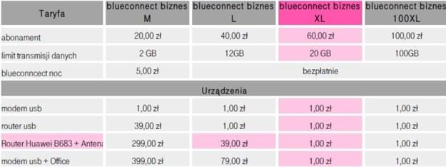Taryfy blueconnect biznes M, L, XL oraz 100XL /materiały prasowe