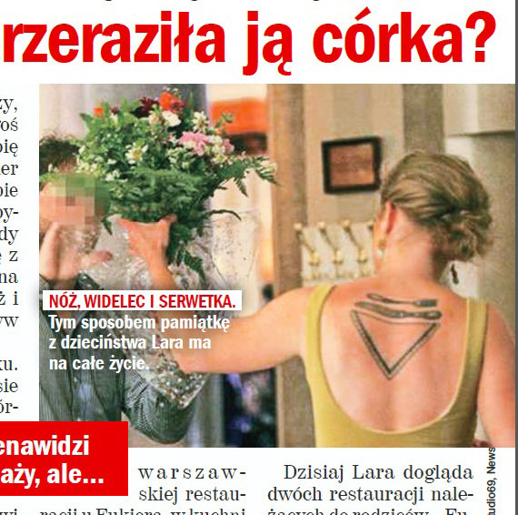 Tatuaż Lary Gessler /Rewia