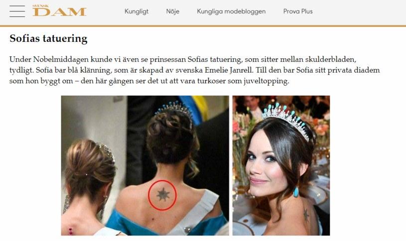 Tatuaż na plecach księżniczki Sofii /