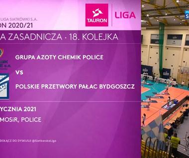 TAURON Liga. Grupa Azoty Chemik Police - Polskie Przetwory Pałac Bydgoszcz 3-1. Skrót meczu (POLSAT SPORT)