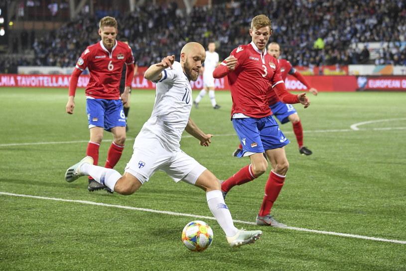 Teemu Pukki strzelił dwa gole dla Finów w meczu z Liechtensteinem /PAP