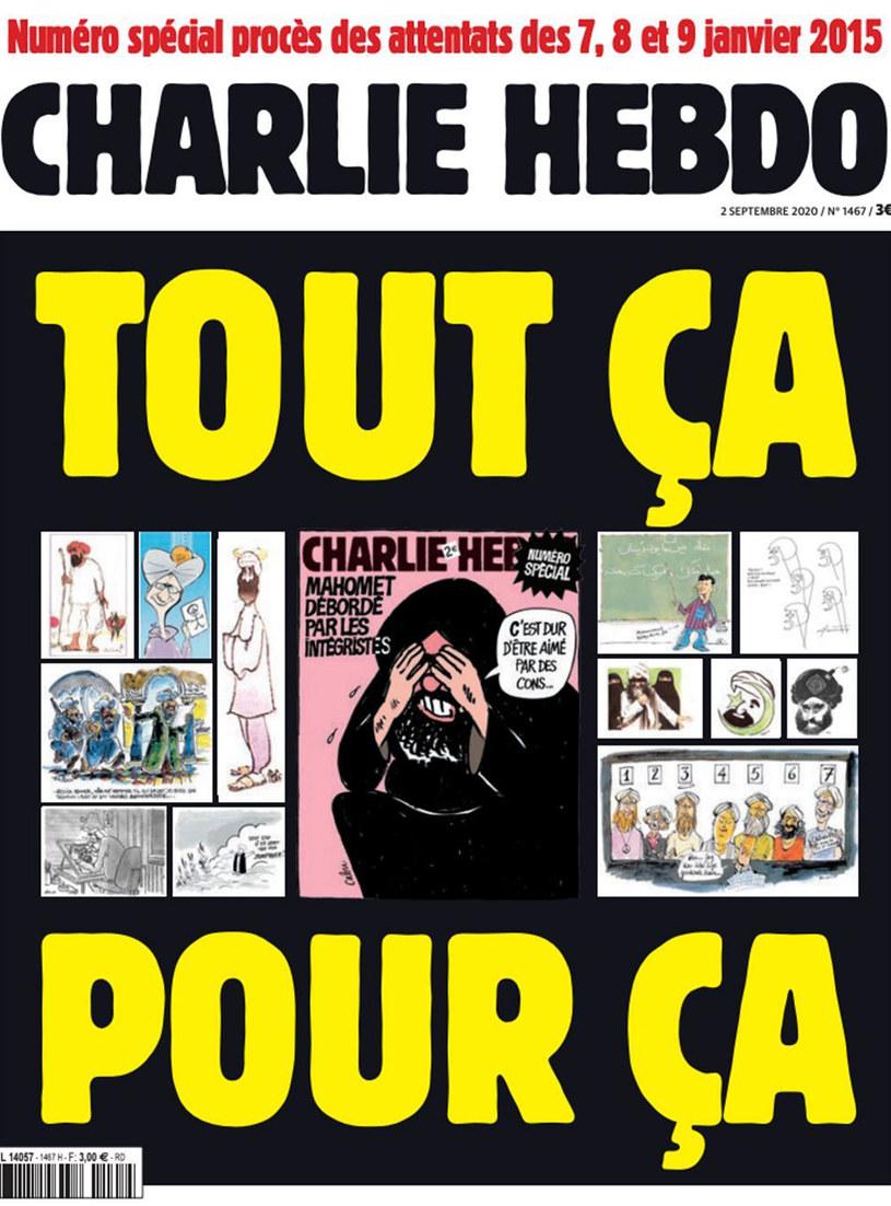 "Tegoroczna okładka ""Charlie Hebdo"" /"