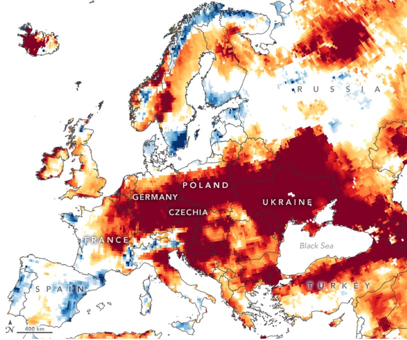 Tegoroczna susza, zdjęcie Earth Observatory /materiały prasowe