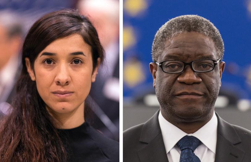 Tegoroczni laureaci Pokojowej Nagrody Nobla - Nadia Murad i Denis Mukwege /Patrick Seeger  /PAP/EPA