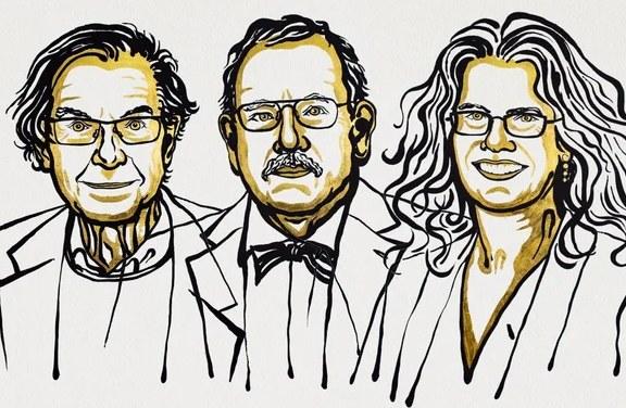 Tegoroczni nobliści: Sir Roger Penrose, Reinhard Genzel, Andrea Ghez /materiały prasowe