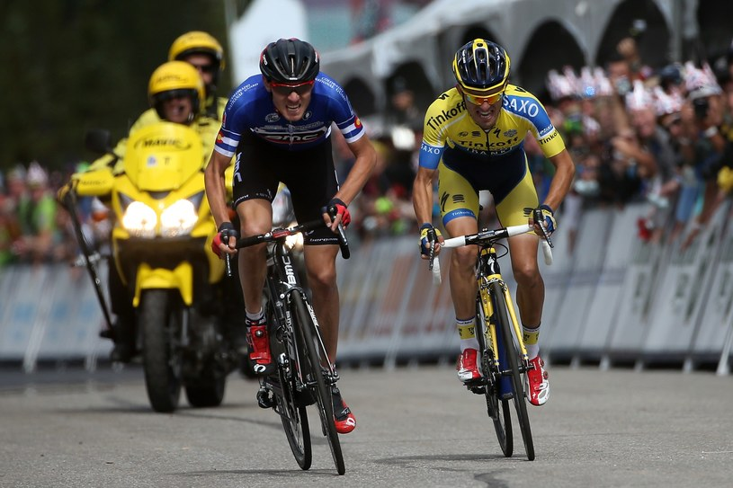 Tejay van Garderen (z lewej) i Rafał Majka na finiszu trzeciego etapu /AFP