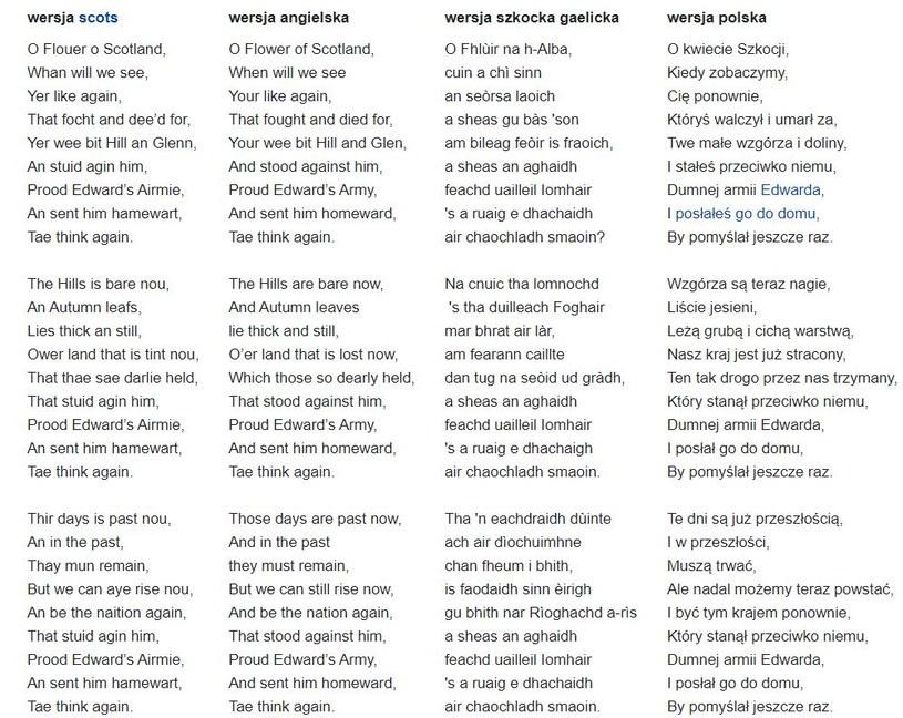 """Tekst """"Flower of Scotland"""" /wikipedia.pl /materiały prasowe"""