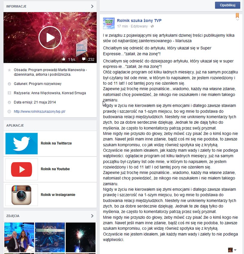 Tekst oświadczenia Mariusza /TVP