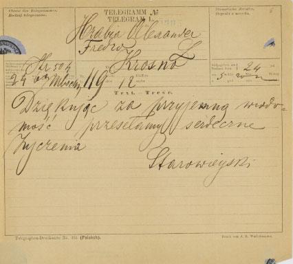 Telegram z okazji zaręczyn Piotra Szembeka z Marią  Fredrówną /Biblioteka Narodowa