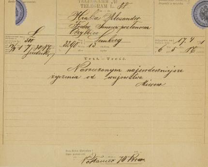 Telegram z okazji zaręczyn /Biblioteka Narodowa