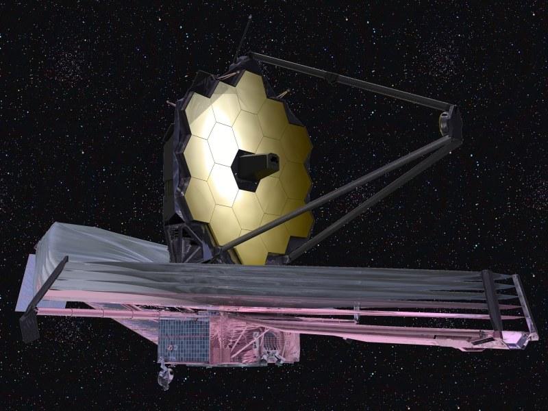 Teleskop Kosmiczny Jamesa Webba wyposażony w 6,5-metrowe lustro zostanie wyniesiony na orbitę przy pomocy rakiety Ariane 5 w październiku 2018 roku /materiały prasowe