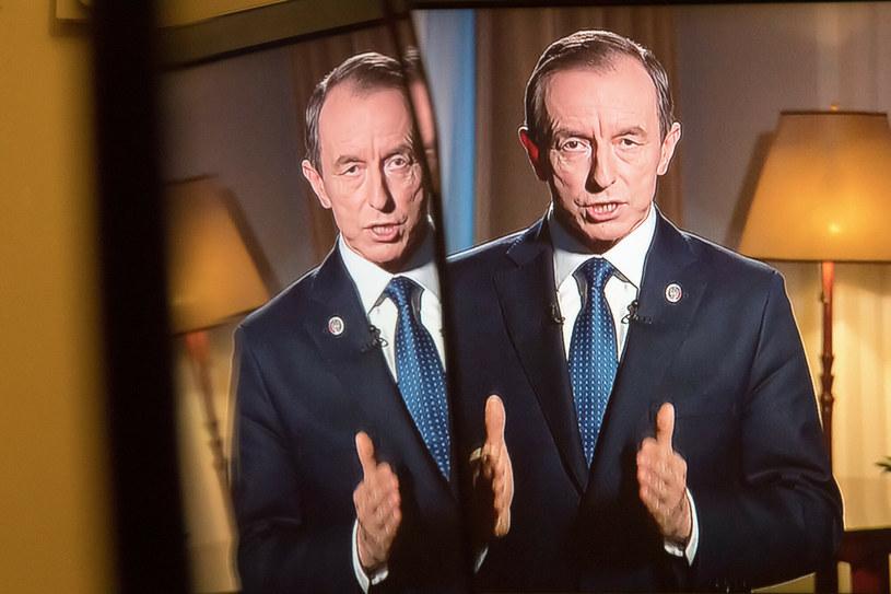 Telewizyjne orędzie marszałka Senatu Tomasza Grodzkiego /Wojciech Stróżyk /Reporter