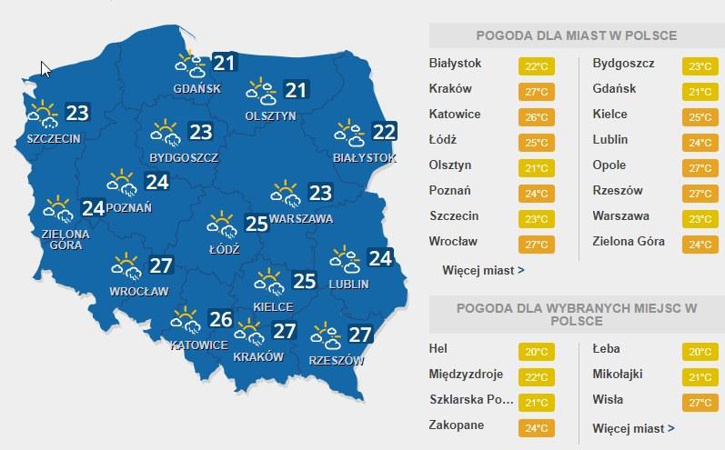 Temperatura w sobotę /INTERIA.PL